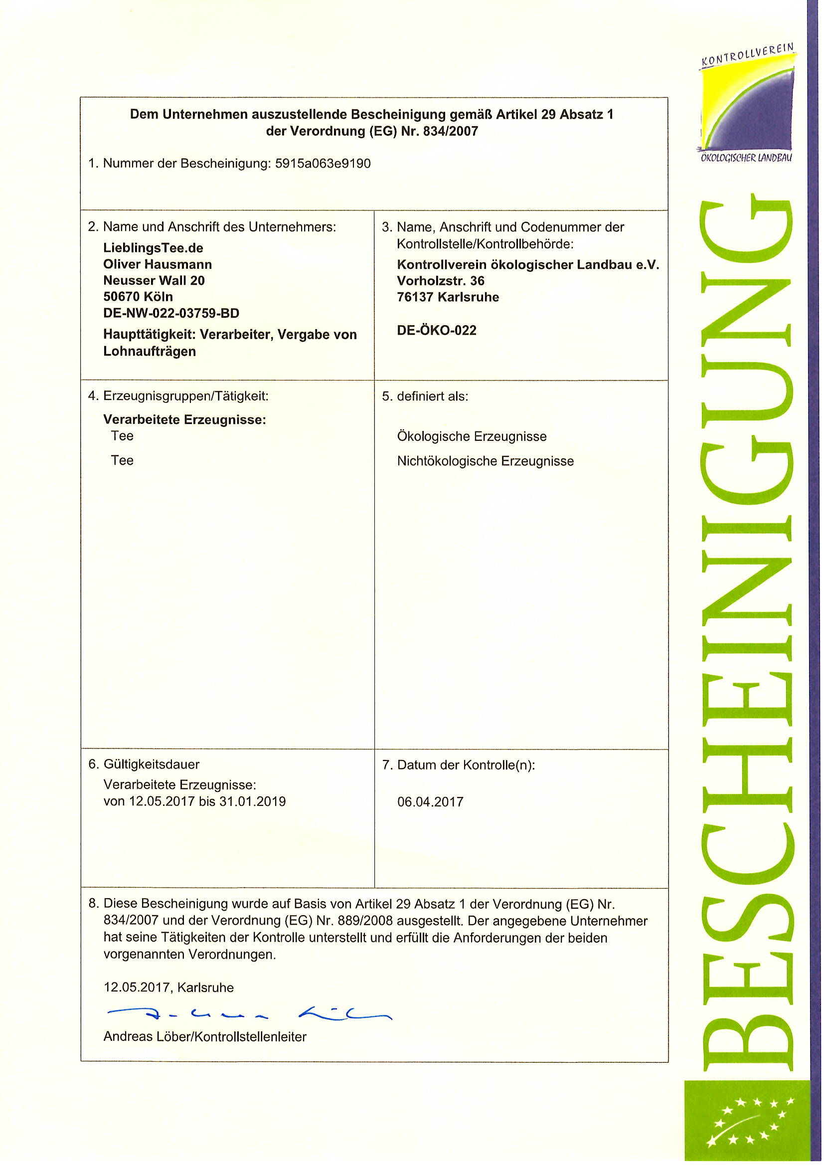 Bio Zertifikat Lieblingstee
